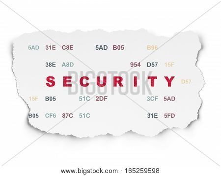 Protection concept: Painted red text Security on Torn Paper background with  Hexadecimal Code