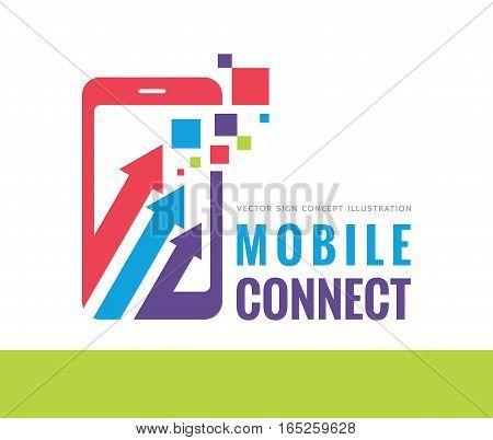 Mobile phone connect vector logo template concept illustration. Smartphone creative sign. Modern technology banner. Cellphone symbol. Tablet PC layout. Design element.