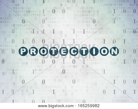 Privacy concept: Painted blue text Protection on Digital Data Paper background with Binary Code