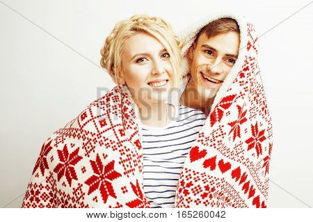 young pretty teenage couple, hipster guy with his girlfriend happy smiling and hugging isolated on white background, lifestyle people concept, valentine design winter plaid together