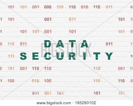 Security concept: Painted green text Data Security on White Brick wall background with Binary Code