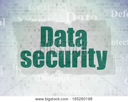 Protection concept: Painted green text Data Security on Digital Data Paper background with   Tag Cloud