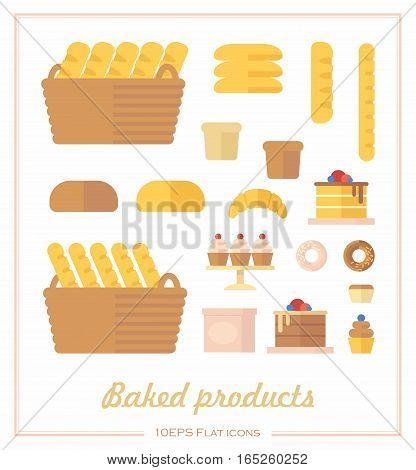 Set of iconson the baking products in a flat style