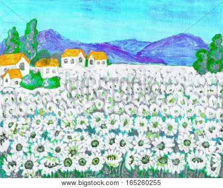 Hand painted picture acrylic summer landscape field with camomiles - ox-eye daisies.