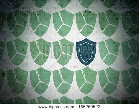 Security concept: rows of Painted green broken shield icons around blue shield icon on Digital Data Paper background