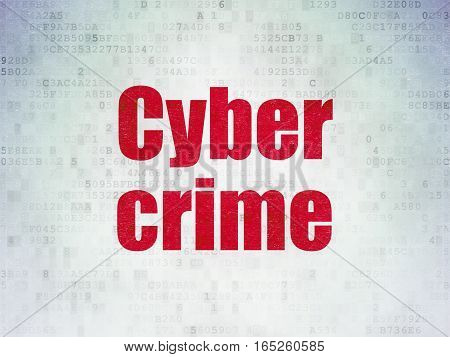Safety concept: Painted red word Cyber Crime on Digital Data Paper background