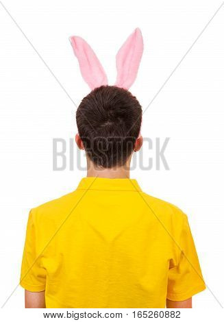 Rear View of a Man with Rabbit Ears Isolated on the White Background