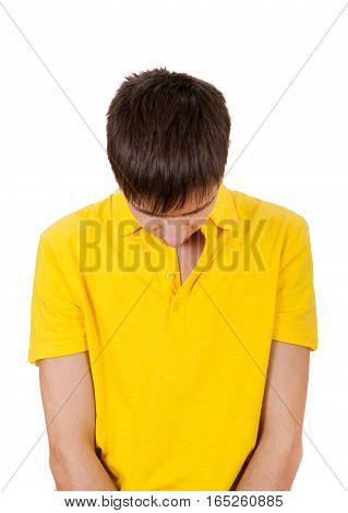 Portrait of Sad Teenager With Lowered Head on the White Background