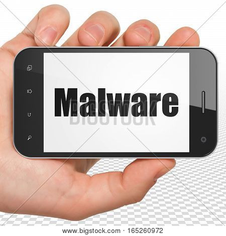 Safety concept: Hand Holding Smartphone with black text Malware on display, 3D rendering