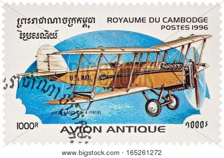 MOSCOW RUSSIA - January 10 2017: A stamp printed in Cambodia shows English airplane De Havilland D.H.4. (1918) series