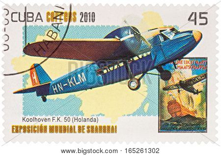 MOSCOW RUSSIA - January 12 2017: A stamp printed in Cuba shows old Dutch passenger airplane Koolhoven F.K.50 (1930s) series