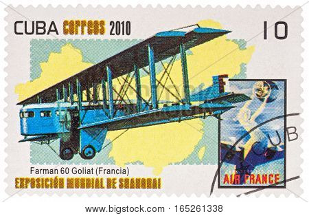 MOSCOW RUSSIA - January 12 2017: A stamp printed in Cuba shows old French airliner and heavy bomber Farman F.60 Goliath (designed in 1918) series