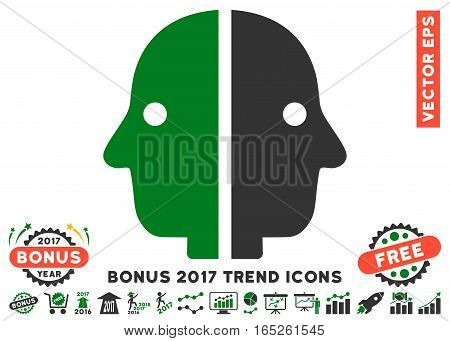 Green And Gray Dual Face icon with bonus 2017 trend design elements. Vector illustration style is flat iconic bicolor symbols white background.