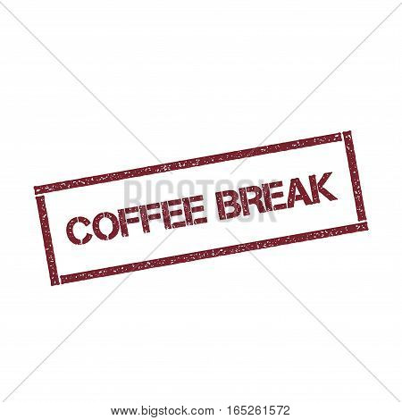 Coffee Break Rectangular Stamp. Textured Red Seal With Text Isolated On White Background, Vector Ill