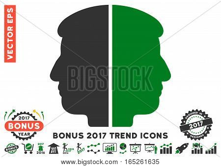 Green And Gray Dual Face pictogram with bonus 2017 year trend icon set. Vector illustration style is flat iconic bicolor symbols white background.