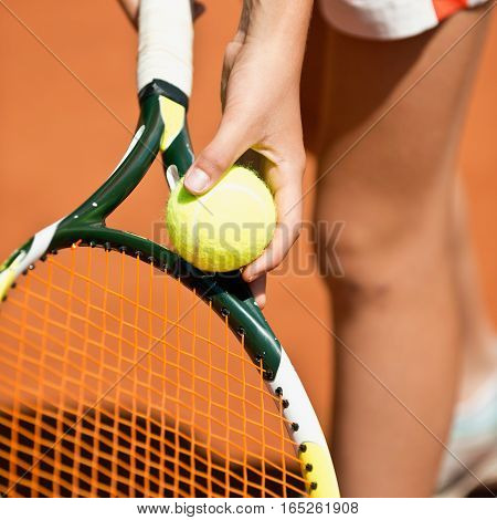 Female tennis player serving, toned image, square