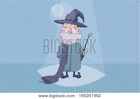 children s vector illustration. Good wizard holding a magic wand in his hand and smiling on blue background