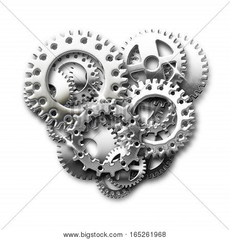 illustration of hearts made with metal chrome gear