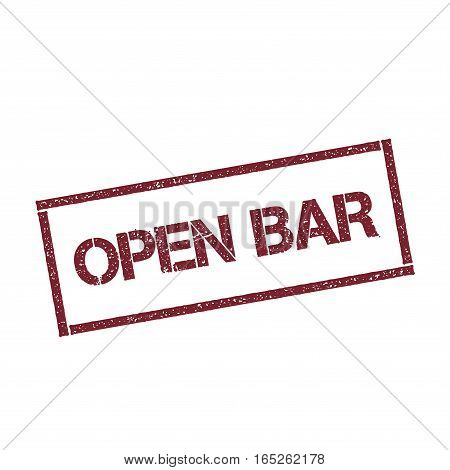 Open Bar Rectangular Stamp. Textured Red Seal With Text Isolated On White Background, Vector Illustr