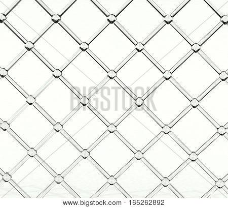 Transparent glass lattice over light  white background