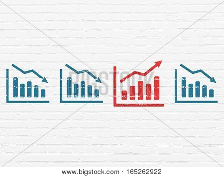 Business concept: row of Painted blue decline graph icons around red growth graph icon on White Brick wall background