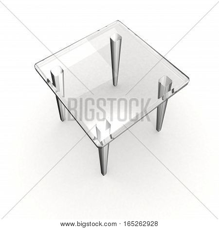 Transparent gray stool with shadow over white