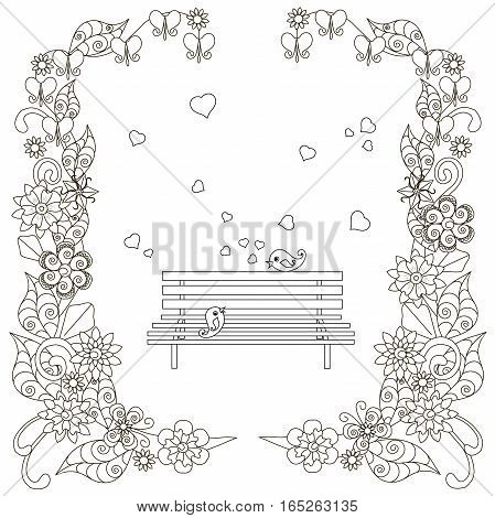 Anti stress bench, birds with hearts, flowering frame hand drawn vector illustration