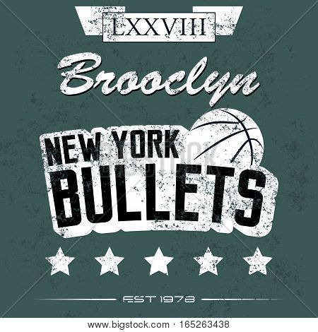 Vintage American old grunge effect tee print vector design. Premium quality superior basketball retro logo concept. Shabby t-shirt and hoodie emblem.