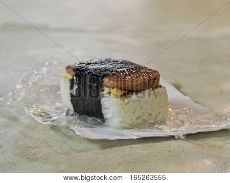 Musubi is a popular Hawaiian snack made with spam and rice