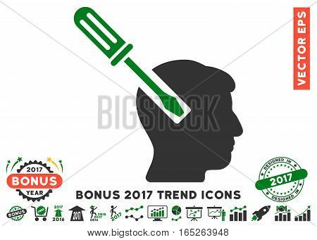 Green And Gray Head Screwdriver Tuning icon with bonus 2017 year trend symbols. Vector illustration style is flat iconic bicolor symbols white background.