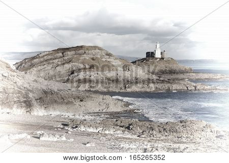Pastel image of The Mumbles with it's lighthouse as seen from Bracelet Bay on the Gower Peninsular, West Glamorgan, Wales, UK, a popular Welsh coastline attraction for tourist visitors
