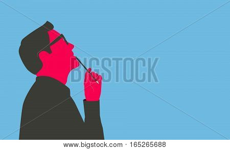 Man holding a pencil, looking up and thinking. Stylized silhouette isolated on blue background.