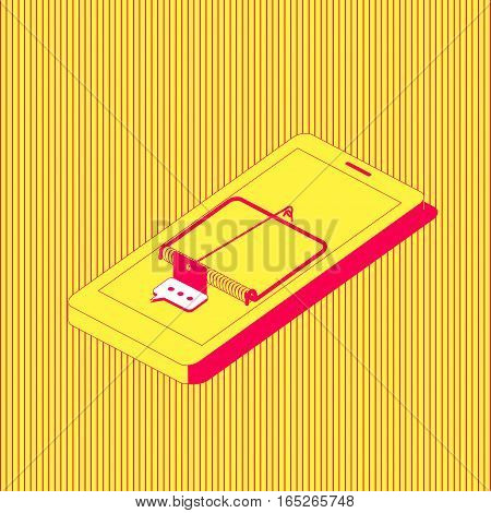 The mobile phone stylized as a mousetrap with a message icon as a bait. Smartphone addiction concept illustration.