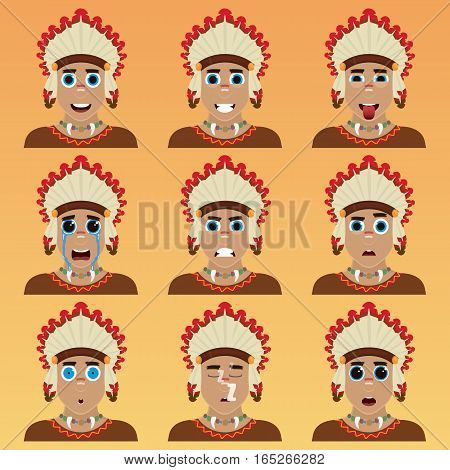 Set Of Cute American Indian Emoticons.