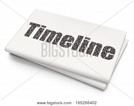 Timeline concept: Pixelated black text Timeline on Blank Newspaper background, 3D rendering