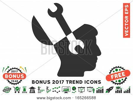 Green And Gray Mind Wrench Tools pictogram with bonus 2017 year trend pictograph collection. Vector illustration style is flat iconic bicolor symbols, white background.