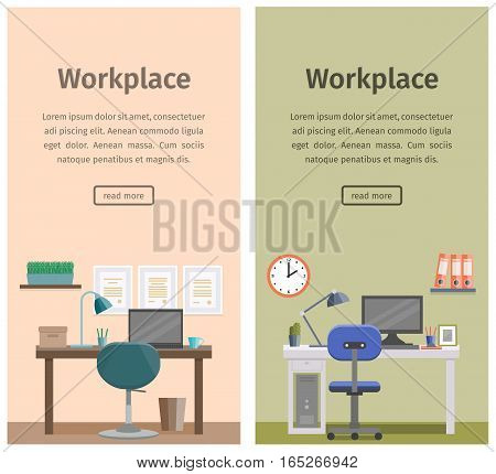 Modern design workspace or home workplace. Office interior in flat style with furniture and equipment. Banners of business theme. Vector illustration.