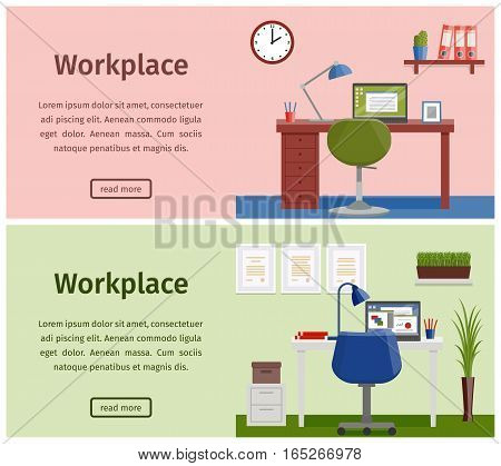 Horizontal banners of business theme. Design workspace or home workplace. Office interior in flat style with furniture and equipment. Vector.
