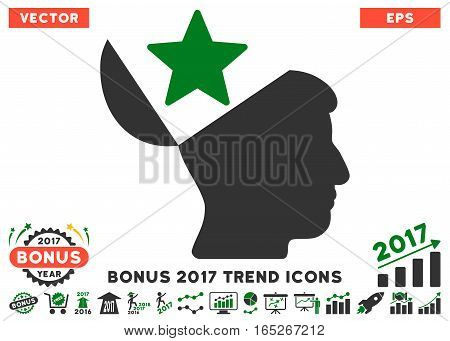 Green And Gray Open Head Star pictogram with bonus 2017 year trend pictures. Vector illustration style is flat iconic bicolor symbols, white background.