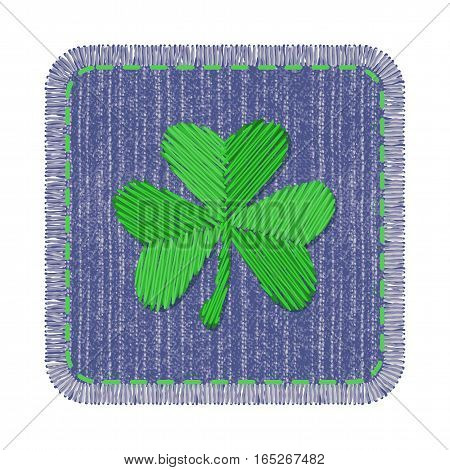 Blue rectangle denim patch with green shamrock embroidery, stitch and fringe. Square jeans fabric with Irish symbol of Saint Patricks Day.