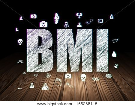 Healthcare concept: Glowing text BMI,  Hand Drawn Medicine Icons in grunge dark room with Wooden Floor, black background