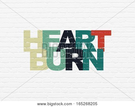 Medicine concept: Painted multicolor text Heartburn on White Brick wall background
