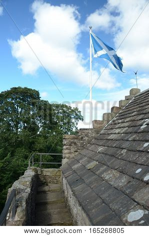 A view of the saltire on the rooftop of Huntingtower castle