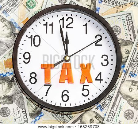 Time to taxes. Clock with word