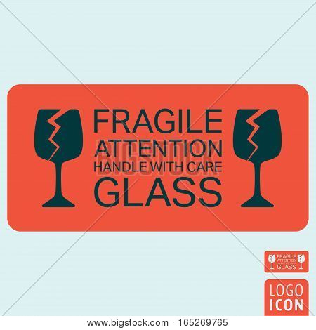 Handle with care icon. Package handling label. Glass fragile attention symbol. Vector illustration.