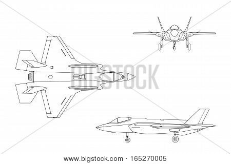 Outline drawing of military aircraft on white background. Top side front views. Fighter jet. Vector illustration.