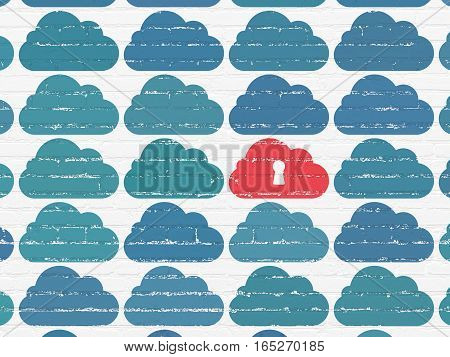 Cloud networking concept: rows of Painted blue cloud icons around red cloud with keyhole icon on White Brick wall background