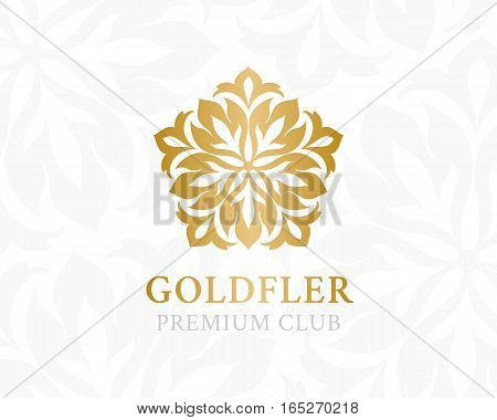 Gold ornamental logo. Floral design element. Vector decorative symbol for hotel spa salon premium club or other firm and brand.