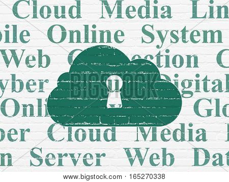 Cloud computing concept: Painted green Cloud With Keyhole icon on White Brick wall background with  Tag Cloud