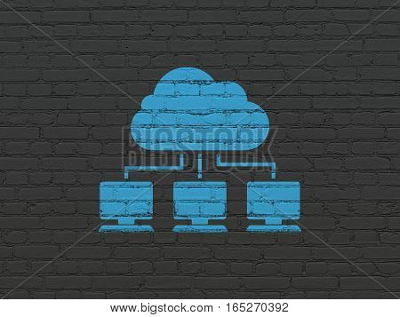 Cloud networking concept: Painted blue Cloud Network icon on Black Brick wall background